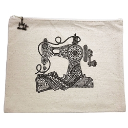 9 x 11 Vintage Sewing Machine Mandela Zipper Bag