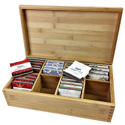 Wooden Mini Charm / Tea Storage Box -- 8 Compartment