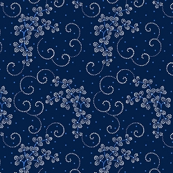 Danbury Dotted Leaf & Scroll Navy