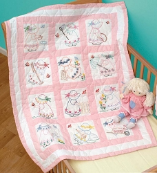 Jack Dempsey Girls Quilt Block Set Embroidery
