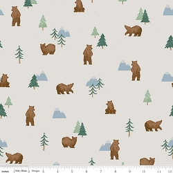Riley Blake Camp Woodland C10461 Grizzly Bears Off White