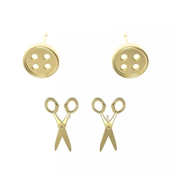 Button/ Scissor Earrings