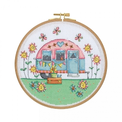 Tuva Camper Cross Stitch with Wooden Hoop CCS04