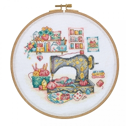 Tuva Vintage Sewing Machine Cross Stitch with Wooden Hoop DCS01